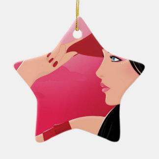 Ornamento De Cerâmica Vaqueira que veste o chapéu de vaqueiro vermelho