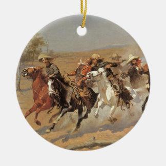 Ornamento De Cerâmica Vaqueiros do vintage, um traço para a madeira por