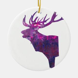 Ornamento De Cerâmica Veado principal dos cervos no lilac