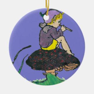 Ornamento De Cerâmica ~ velho da ilustração do duende do Natal do ~