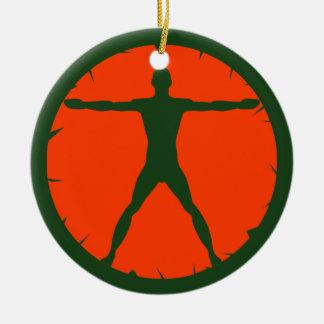 Ornamento De Cerâmica Verde padrão e laranja da malhação da loucura do
