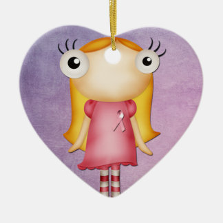 Ornamento De Cerâmica vestindo uma menina subtil da fita cor-de-rosa