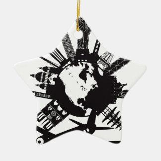 Ornamento De Cerâmica Viagem em todo o mundo pela ilustração do avião
