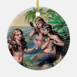 Ornamento De Cerâmica Vintage da ilustração do Victorian das sereias