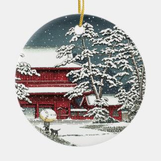 "Ornamento De Cerâmica ""Zojoji na neve"" pelo 川瀬巴水 de Kawase Hasui"