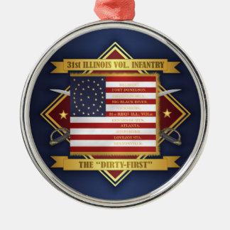 Ornamento De Metal 3ø Infantaria voluntária de Illinois