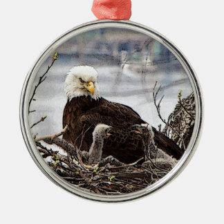 Ornamento De Metal Águia americana com eaglets
