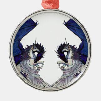 Ornamento De Metal Amantes do unicórnio e do casamento do dragão