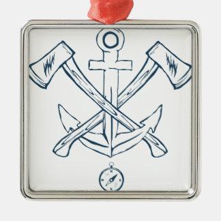 Ornamento De Metal Âncora com machados cruzados. Elementos do design
