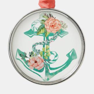 Ornamento De Metal Âncora e rosas