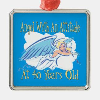 Ornamento De Metal Anjo do aniversário de 40 anos com uma atitude