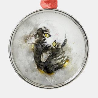 Ornamento De Metal Arte bonito da aguarela do gato de gato malhado