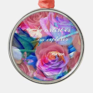 Ornamento De Metal As citações de Matisse em flores cor-de-rosa