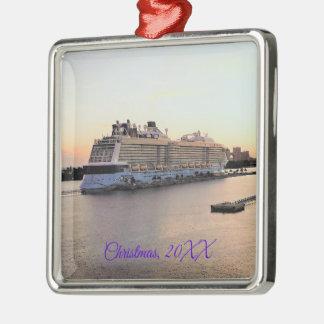 Ornamento De Metal Aurora do porto de Nassau com o navio de cruzeiros