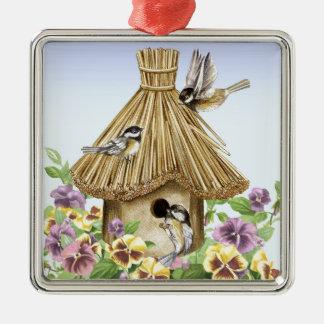 Ornamento De Metal Birdhouse dos Chickadees