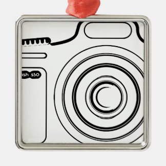 Ornamento De Metal Câmera preto e branco