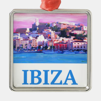 Ornamento De Metal Cidade e porto velhos de Ibiza do poster retro