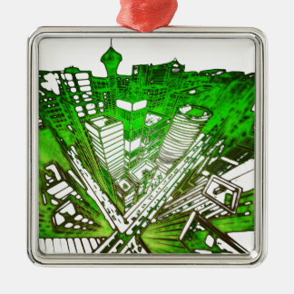 Ornamento De Metal city em 3 point version perspective special green