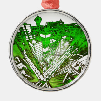 Ornamento De Metal city em 3 point version perspective special green