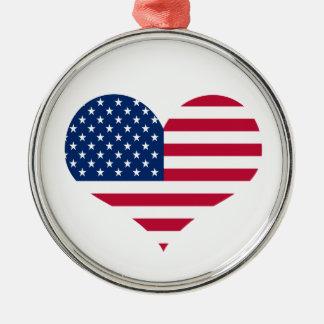 Ornamento De Metal Coração americano dos EUA da bandeira de América