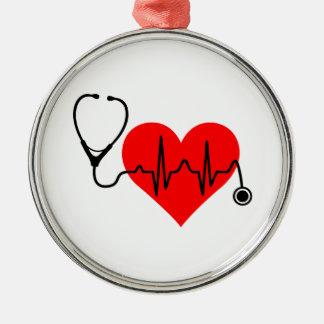 Ornamento De Metal Coração da pulsação do coração do estetoscópio
