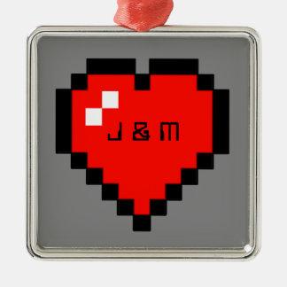 Ornamento De Metal coração de 8 bits (cheio)