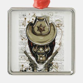 Ornamento De Metal crânio do vaqueiro do macaco com armas gêmeas