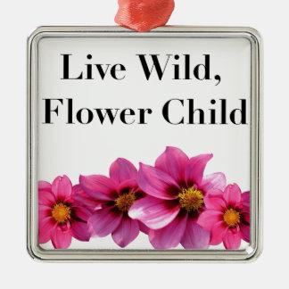 Ornamento De Metal Criança de flor selvagem viva