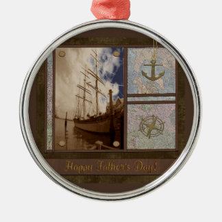 Ornamento De Metal Dia dos pais, navios altos, âncora, mapas,