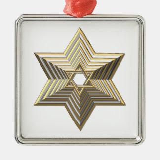 Ornamento De Metal Estrela de David dourada