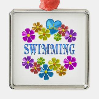 Ornamento De Metal Eu amo nadar