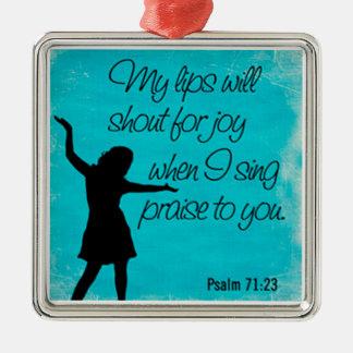 Ornamento De Metal fundo do azul do 71:23 do salmo
