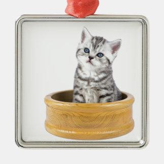 Ornamento De Metal Gato de gato malhado de prata novo que senta-se na