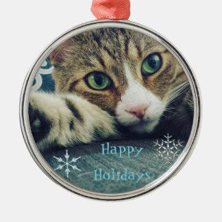 Ornamento De Metal Gato de gato malhado do floco de neve