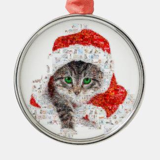 Ornamento De Metal gato de Papai Noel - colagem do gato - gatinho -