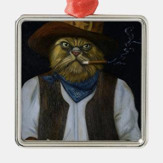 Ornamento De Metal Gato de Texas com uma atitude