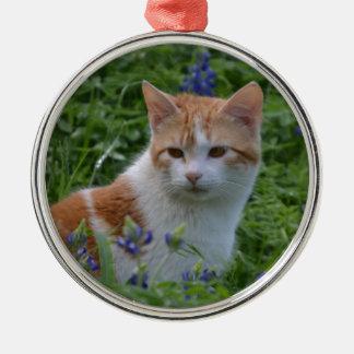 Ornamento De Metal Gato malhado alaranjado e branco