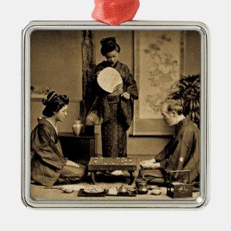 Ornamento De Metal Gueixa que joga o mestre no jogo do vintage do 囲碁