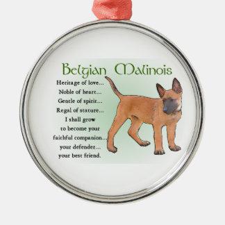 Ornamento De Metal Herança de Malinois do belga do amor