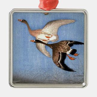 Ornamento De Metal Impressão do vintage de gansos do vôo
