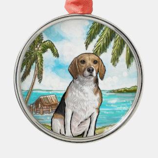 Ornamento De Metal Lebreiro na praia tropical das férias