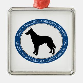 Ornamento De Metal Logotipo do salvamento de Malinois,