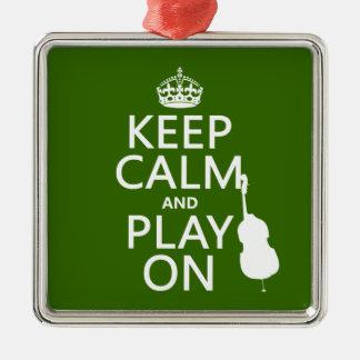 Ornamento De Metal Mantenha a calma e o jogo em (violoncelo) (alguma