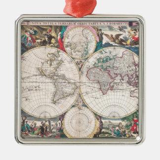 Ornamento De Metal Mapa do mundo antigo do Dobro-Hemisfério