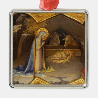 Ornamento De Metal Mary e bebê Jesus no comedoiro