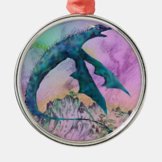 Ornamento De Metal Monstro branco do dragão que voa sobre o oceano