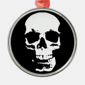 Ornamento De Metal Na moda preto & branco do crânio do pop art legal