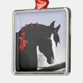 Ornamento De Metal Natal árabe preto do cavalo