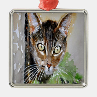 Ornamento De Metal O gato de gato malhado curioso