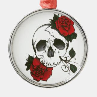 Ornamento De Metal orament dos rosas do crânio